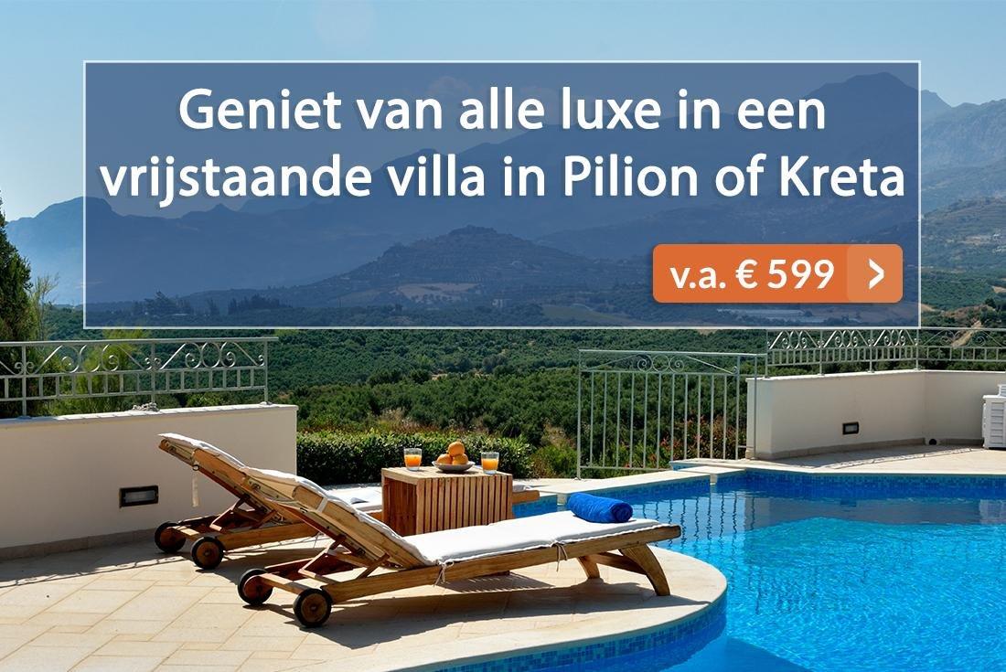 Villa aanbieding Kreta en Pilion